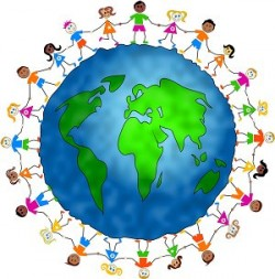 Royalty-free people clipart picture of diverse children holding hands and standing around the globe, on a white background.