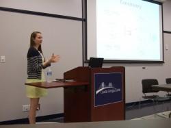 Helen Barrett presenting her research.