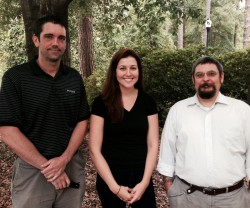 "Zachary Dietrich, Dr. Shauna Joye and Joseph Amos Garcia pose for a photo near the psychology department at Georgia Southern University. The team of researchers have partnered with Warrior Hike ""Walk Off The War"" Program, to study thru-hiking – walking an entire long-distance trail in one attempt – as an alternative method of therapy for combat veterans suffering from post-traumatic stress disorder."